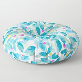 Blue Leaves and Berries Floor Pillow