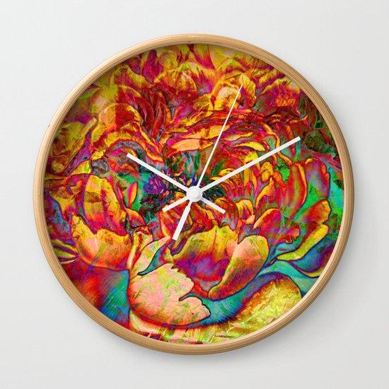 abstract peony Wall Clock