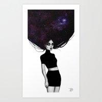 Galaxy hair Art Print
