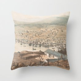 Vintage Pictorial Map of St Johns Newfoundland (1831) Throw Pillow