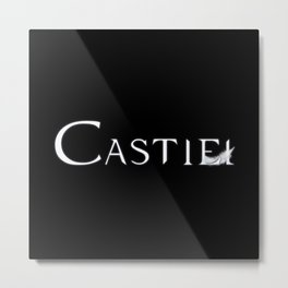 Castiel with Feather White Metal Print