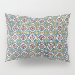 Floral tile yellow turquoise Pillow Sham