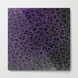 Purple, Black, and Grey Web Crackle Print Metal Print