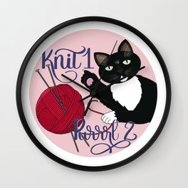 Knit 1 Purrrl 2 cat lover knitter knitting design Wall Clock