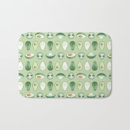 Avocados and aliens pattern Bath Mat