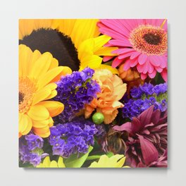 Colorful Joyous Flowers in Yellow, Pink, & Purple Metal Print