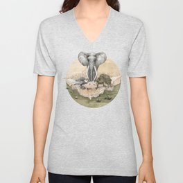 Elephant tea time Unisex V-Neck