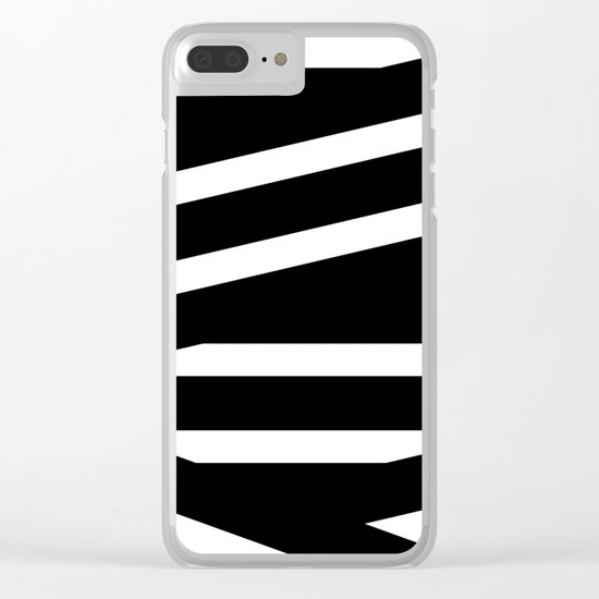 Abstract black & white Lines Stripes Pattern-Mix and Match with Simplicity of Life Clear iPhone Case
