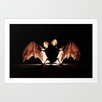 bat Art Prints featuring bat by new art