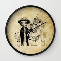 day of the dead Wall Clocks featuring Day of the Dead by Mono Ahn