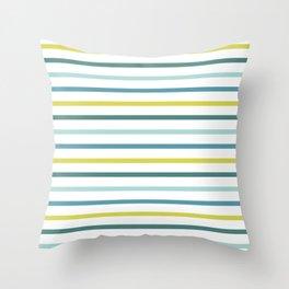 Blue Green Yellow Stripes Throw Pillow