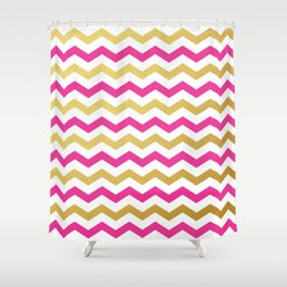 Pink and Gold Chevron Pattern Shower Curtain