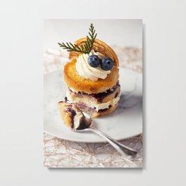 Mini lemon and blueberry cake Metal Print