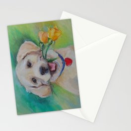 Valentine's Day gift Cute Labrador puppy with flower and heart Stationery Cards