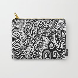 Mushy Madness doodle art Black and White Carry-All Pouch