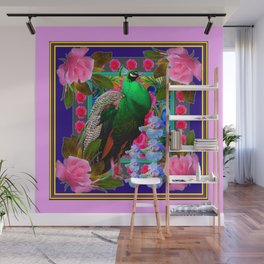 INDIGO PURPLE & PINK ROSES GREEN PEACOCK FLORAL Wall Mural