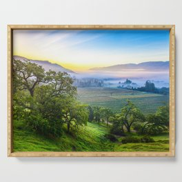 First Light Over Misty Napa Valley Serving Tray