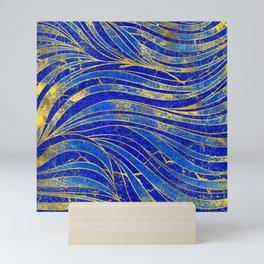 Lapis Lazuli and gold vaves pattern Mini Art Print