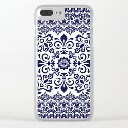 Oriental Damask blue on white Clear iPhone Case