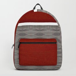 Red And Grey And White Stripe Graphic Offset Pattern Backpack