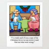 Christmas List Humor Art Print