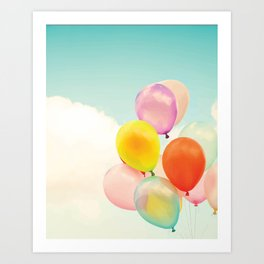 Dreamy Candy Colored Balloons Art Print
