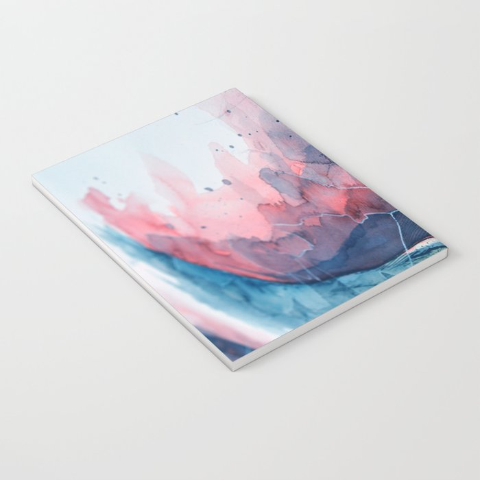 Watercolor shadow red & blue, abstract texture Notebook