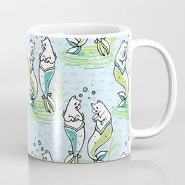 Ocean Aqua Magical Purrmaids Blue Fantasy Pattern Coffee Mug