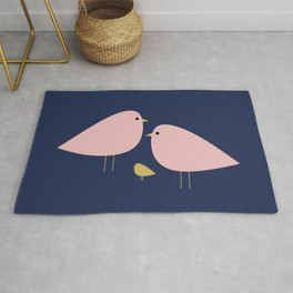 Bird Family in Pink, Navy Blue, and Mustard -  Minimalist Scandinavian Mid-Century Modern Design Rug