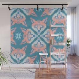 Pastel Fox Pattern Wall Mural