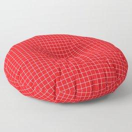 Red Grid White Line Floor Pillow