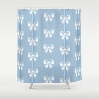 bows Shower Curtains featuring Bows by Pink Berry Patterns