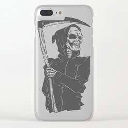 Grim reaper black and white Clear iPhone Case