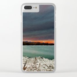 Sunset on the riverside Clear iPhone Case