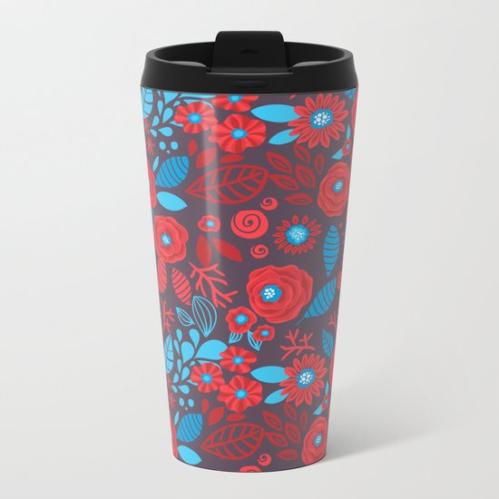 Doodle floral pattern Metal Travel Mug