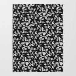 ROUTES gradient black grey abstract pattern Poster