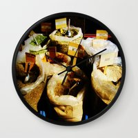 spice Wall Clocks featuring Spice by Madison Webb