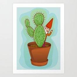 fairytale dwarf with cactus Art Print