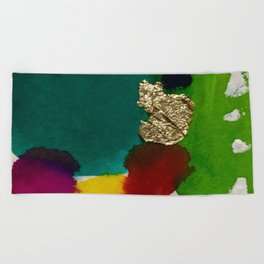 Abstract with Gold Leaf Beach Towel