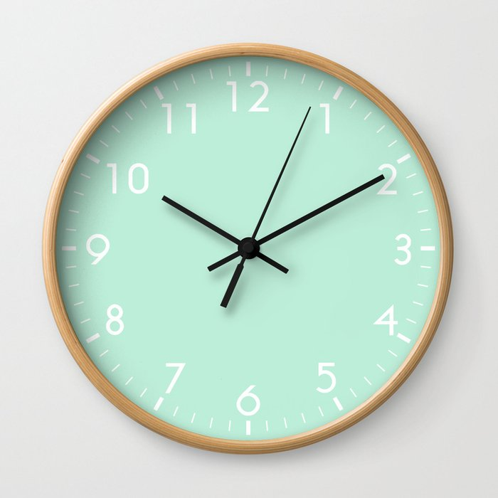 Mint Green Pastel Wall Clock