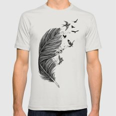 Feather Birds BW Mens Fitted Tee Silver SMALL