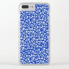 Vintage Flowers Sapphire Blue Clear iPhone Case