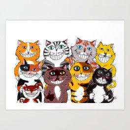 Happy Smiling Cats Art Print