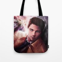 castiel Tote Bags featuring Castiel by jasric