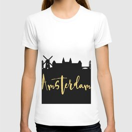 AMSTERDAM NETHERLANDS DESIGNER SILHOUETTE SKYLINE ART T-shirt