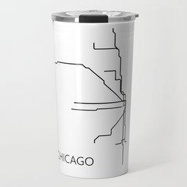 Chicago Metro Map - Black and White Art Print Travel Mug