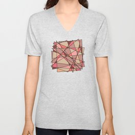Abstract Psychedelic Pattern Beige Coral Pink Unisex V-Neck