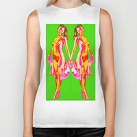 nudes Biker Tanks featuring twins/female nudes by Kathead Tarot/David Rivera
