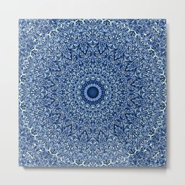 Sacred Blue Garden Mandala Metal Print