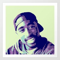 tupac Art Prints featuring Tupac by victorygarlic